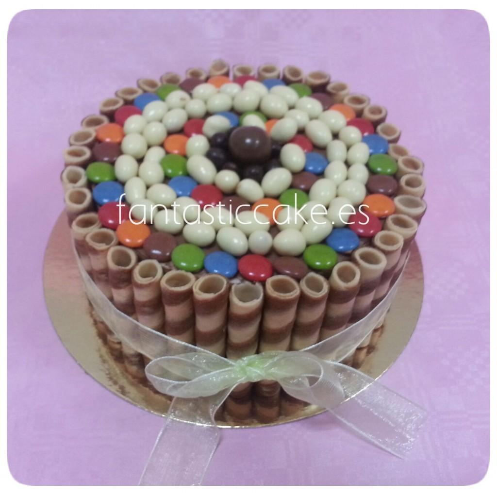 tarta de chocolate y barquillos